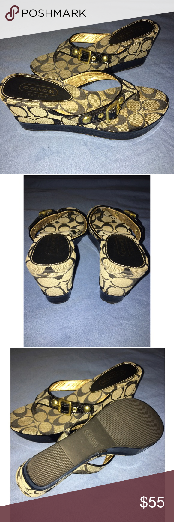 Coach platform/wedges Coach Gracy signature patent leather/jacquard. Gently used, great condition. Coach Shoes Wedges