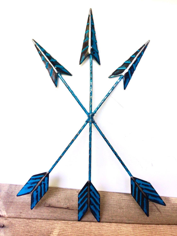 Teal blue wall arrow decor bohemian home decor arrow wall art