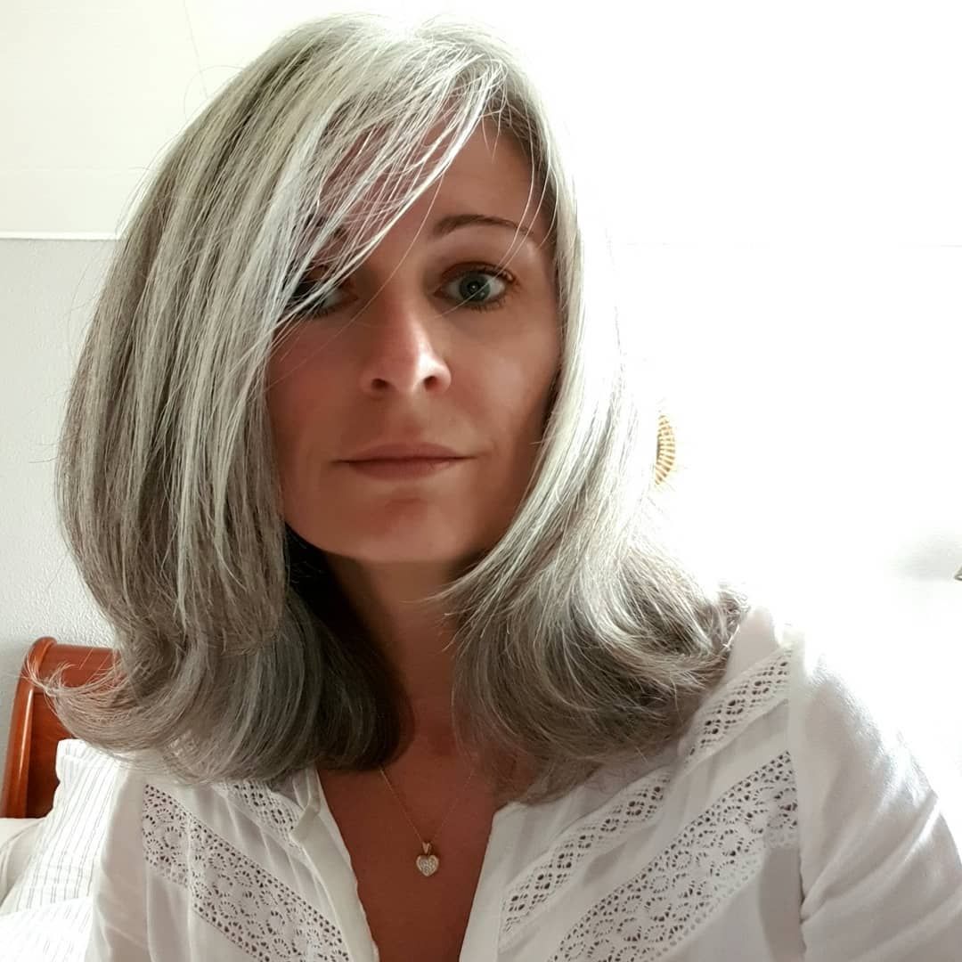 Pin By Shiver Me Silvers On Grays Transitioning Hairstyles Grey Hair With Bangs Grey Hair Styles For Women
