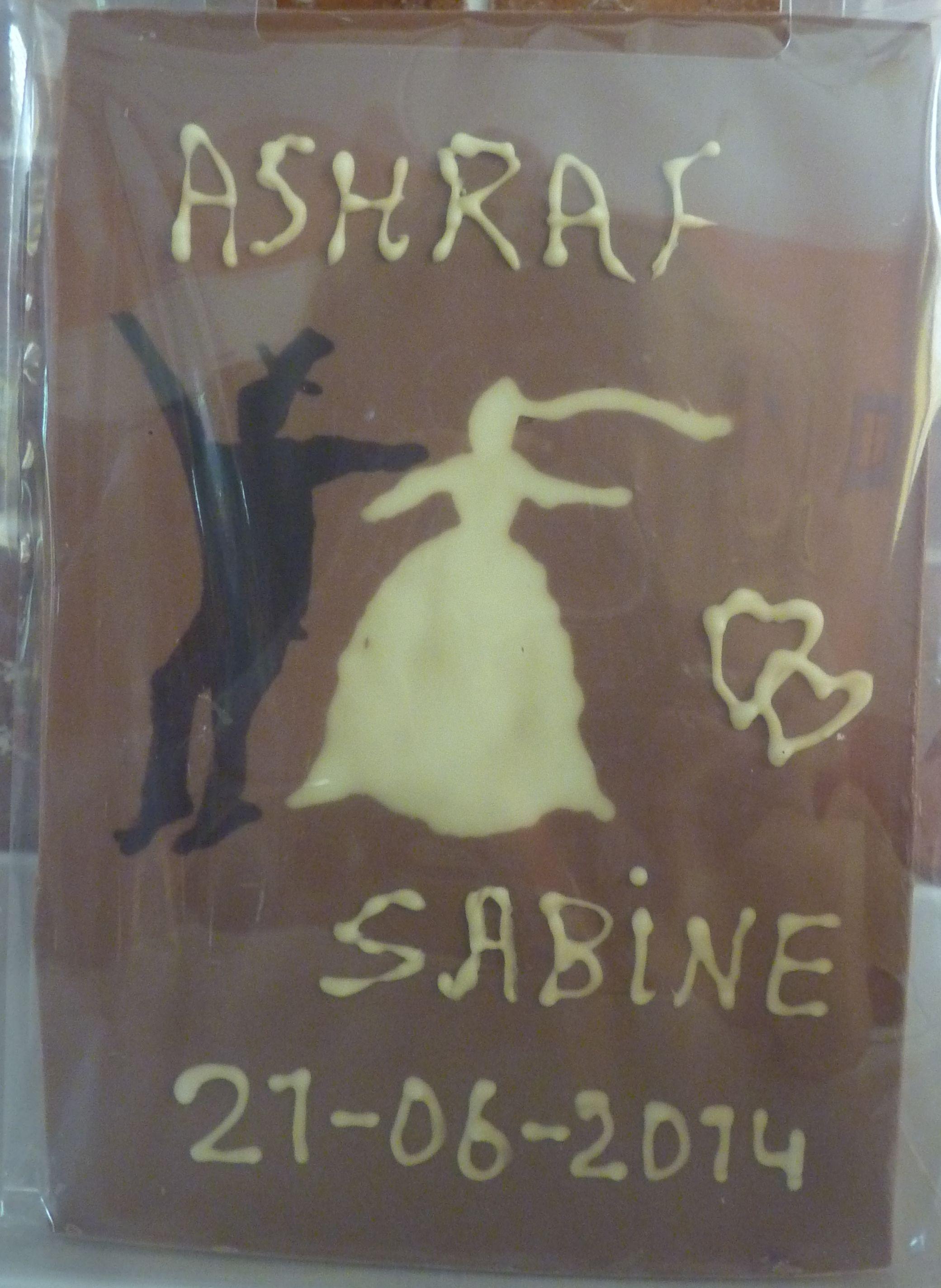 Chocoladeplak bruidspaar