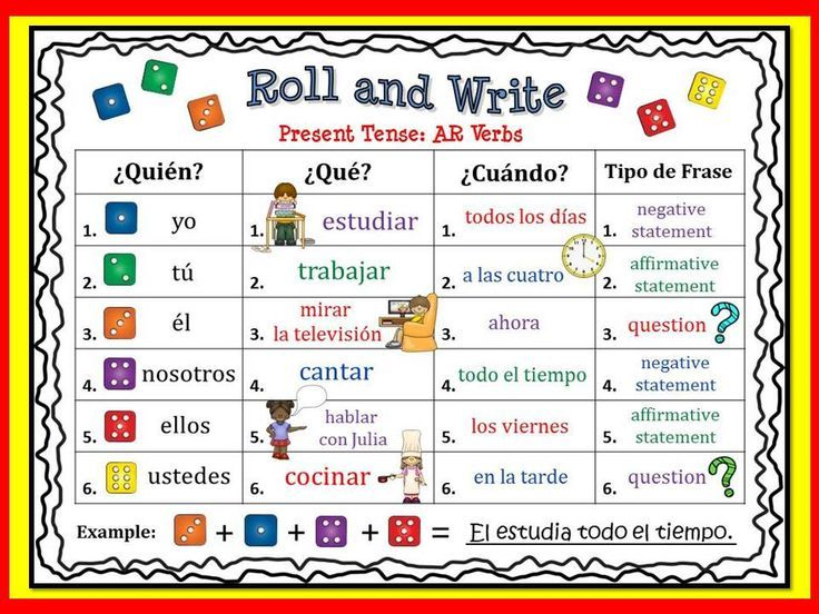 Spanish Present Tense Review Activities Roll and Write Google - resume verbs for teachers