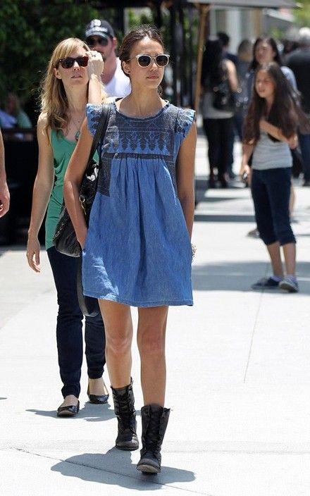 jessica-alba-isabel-marant-denim-dress