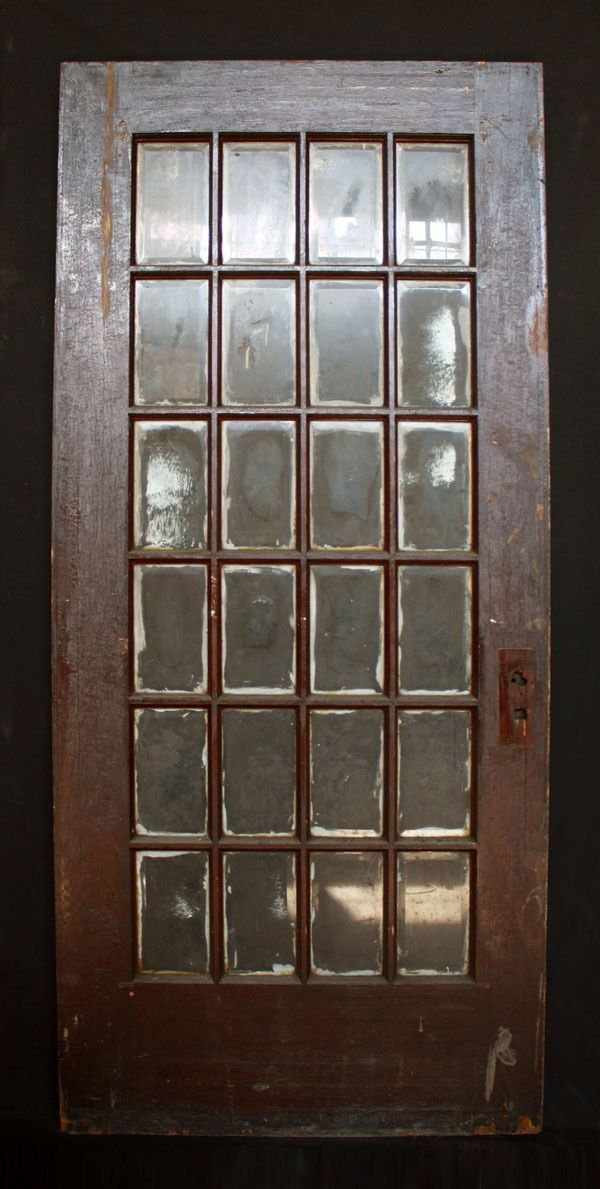 35x 80 Antique Exterior Entry French Oak Door 24 Beveled Glass