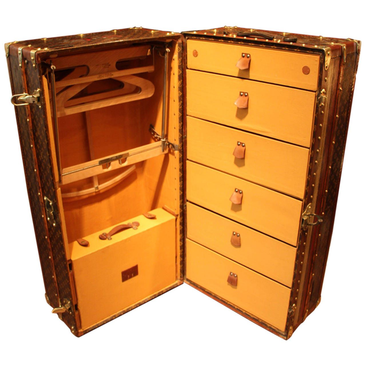 1920\'s Louis Vuitton Stenciled Canvas and Brass Fittings Wardrobe ...