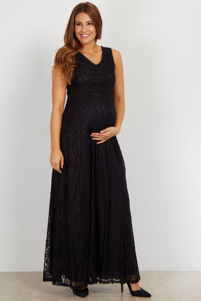 Black Lace V Neck Maternity Evening Dress | Maternity dresses and ...