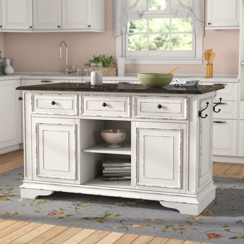Tiphaine Kitchen Island With Granite Top Antique White Kitchen White Kitchen Island Kitchen Island With Granite Top