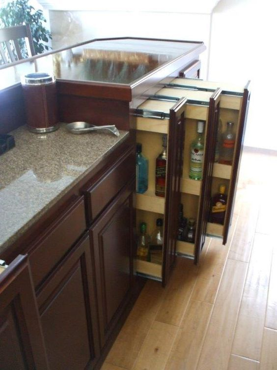 Keep your liquor handy in these pull out drawers for your home bar ...
