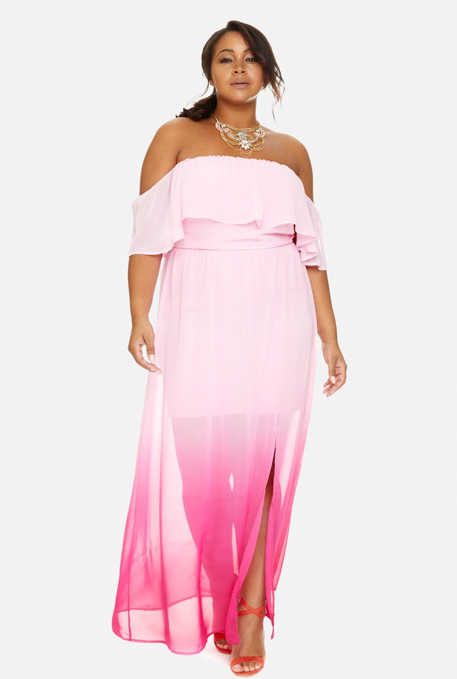 Plus Size Roselyn Off Shoulder Ruffle Ombre Maxi Dress | Girl you ...