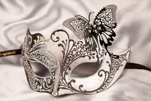 Masks on Sticks with Filigree Metal Butterfly - TERESA SILVER