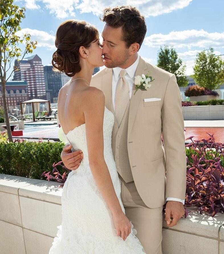 Custom beige wedding suit for men notched lapel mens Suits tan ...