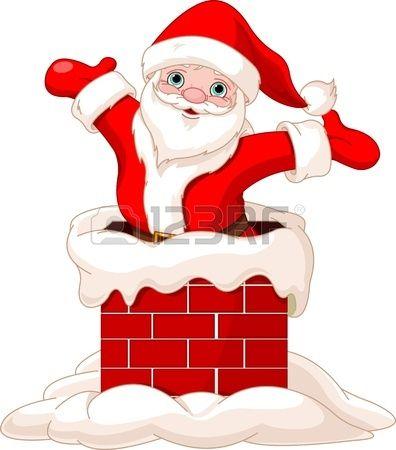 Papa Noel Feliz Saltando De Chimenea Dibujo De Navidad Santa Claus Dibujo Papa Noel Dibujo