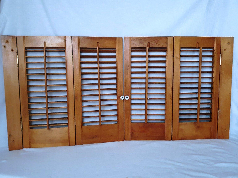 Vintage Pair Interior Douglas Fir Wood Shutters 2 Panels Each Etsy Douglas Fir Wood Wooden Shutters Rustic Window