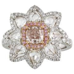 .74 carat Pink Diamond with Rose Cut Diamonds Halo Two Color Gold Ring