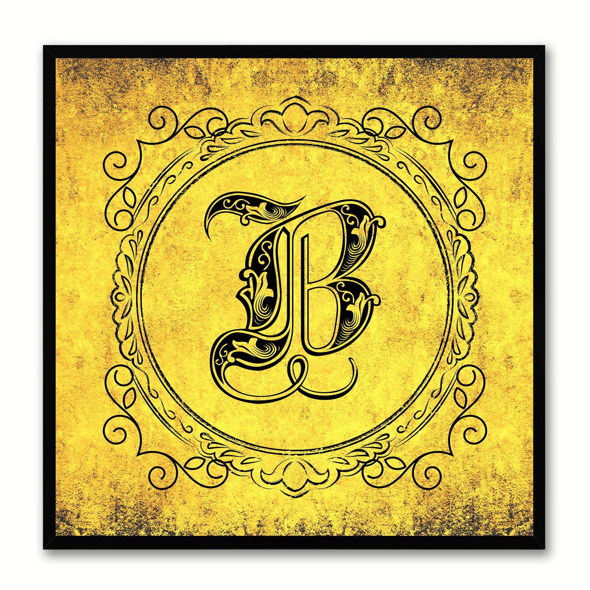 Alphabet B Yellow Canvas Print Black Frame Kids Bedroom Wall Décor ...