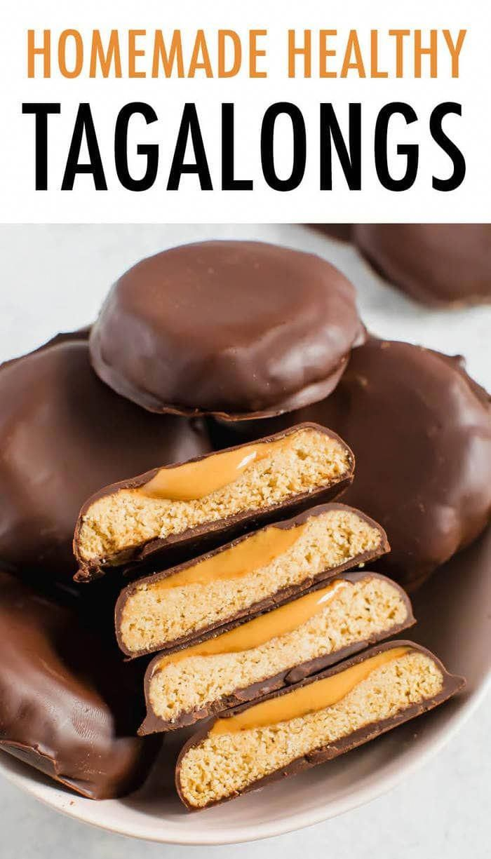 Make healthy Tagalongs at home with only 7 simple ingredients. We're using almond flour cookies, peanut butter and melted chocolate chips to create a vegan and gluten-free version of this Girl Scout classic!#tagalongs
