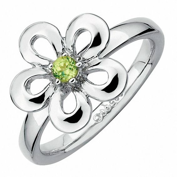 Stackable Expressions Polished Flat Petals Peridot Flower