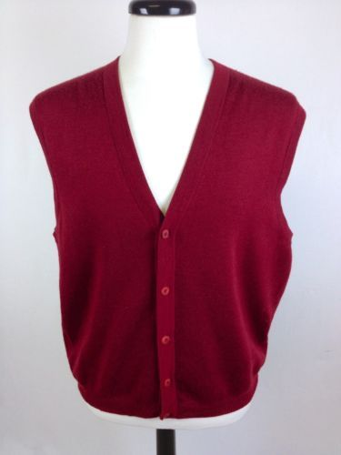 Faconnable Sweater Wool Brick Red Button Up Vest Sleeveless Luxury ...