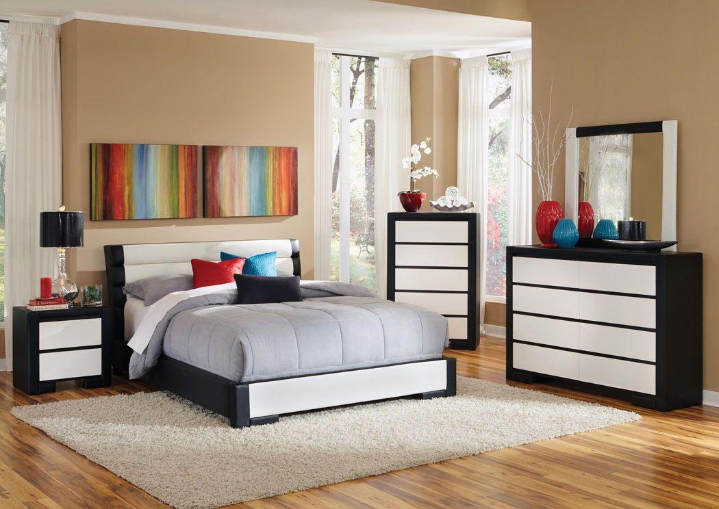 Logan Furniture Dorchester Lynn Watertown Avon Ma Upholstered Black White Queen Bed Dresser Mirror Chest 2 Nightstands