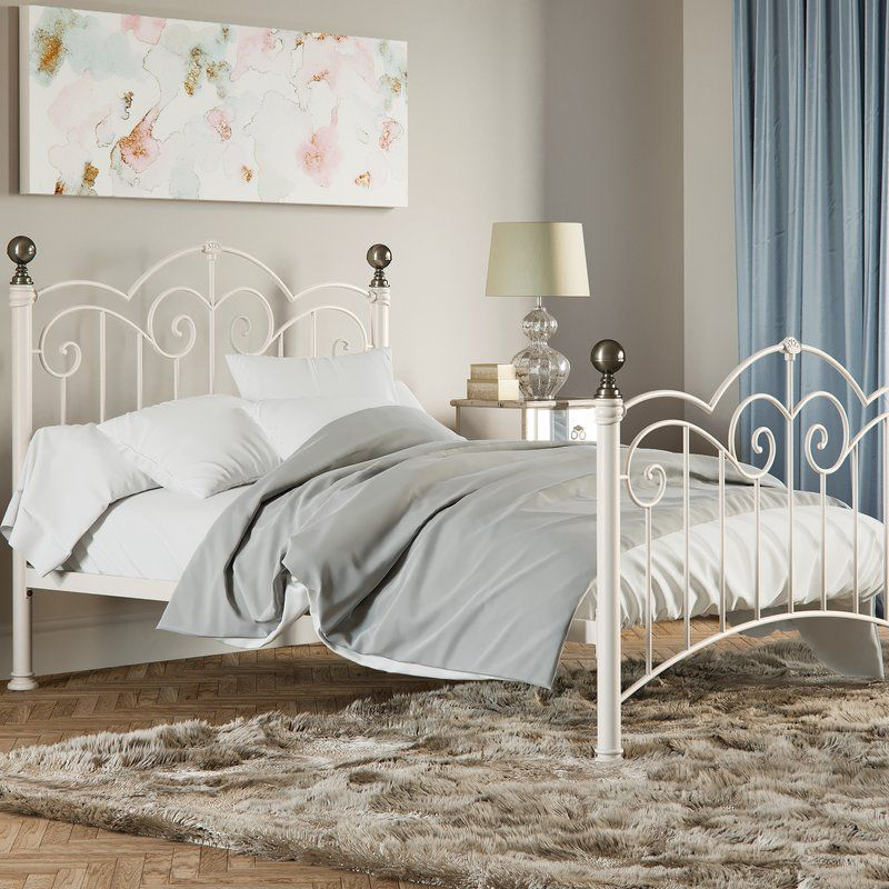Metal Bed Frame Off White Colour Steel Brass Plated Headboard