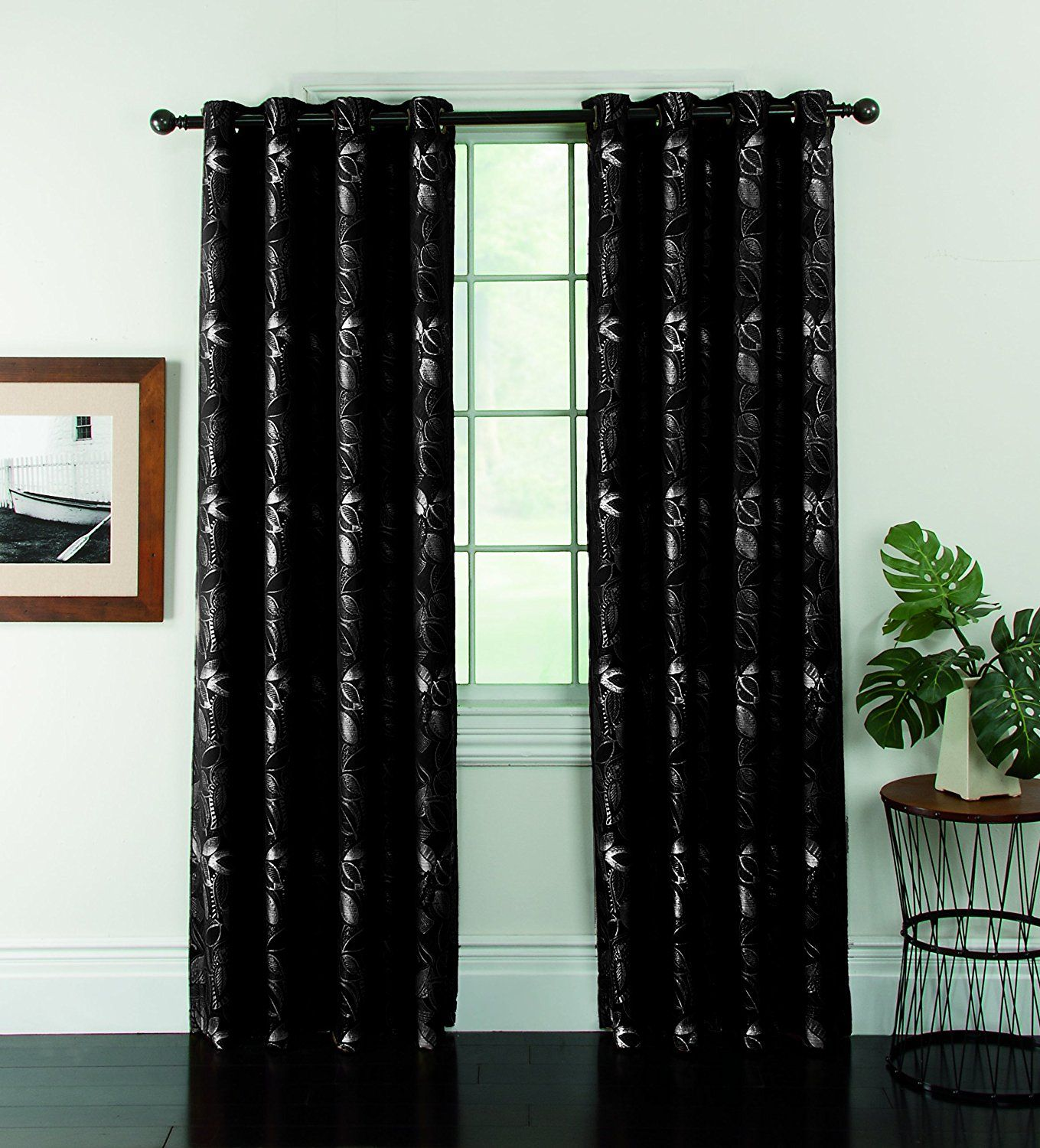 Window Accents Ganset Leaf Jacquard Grommet Panel 54 Inch By 84