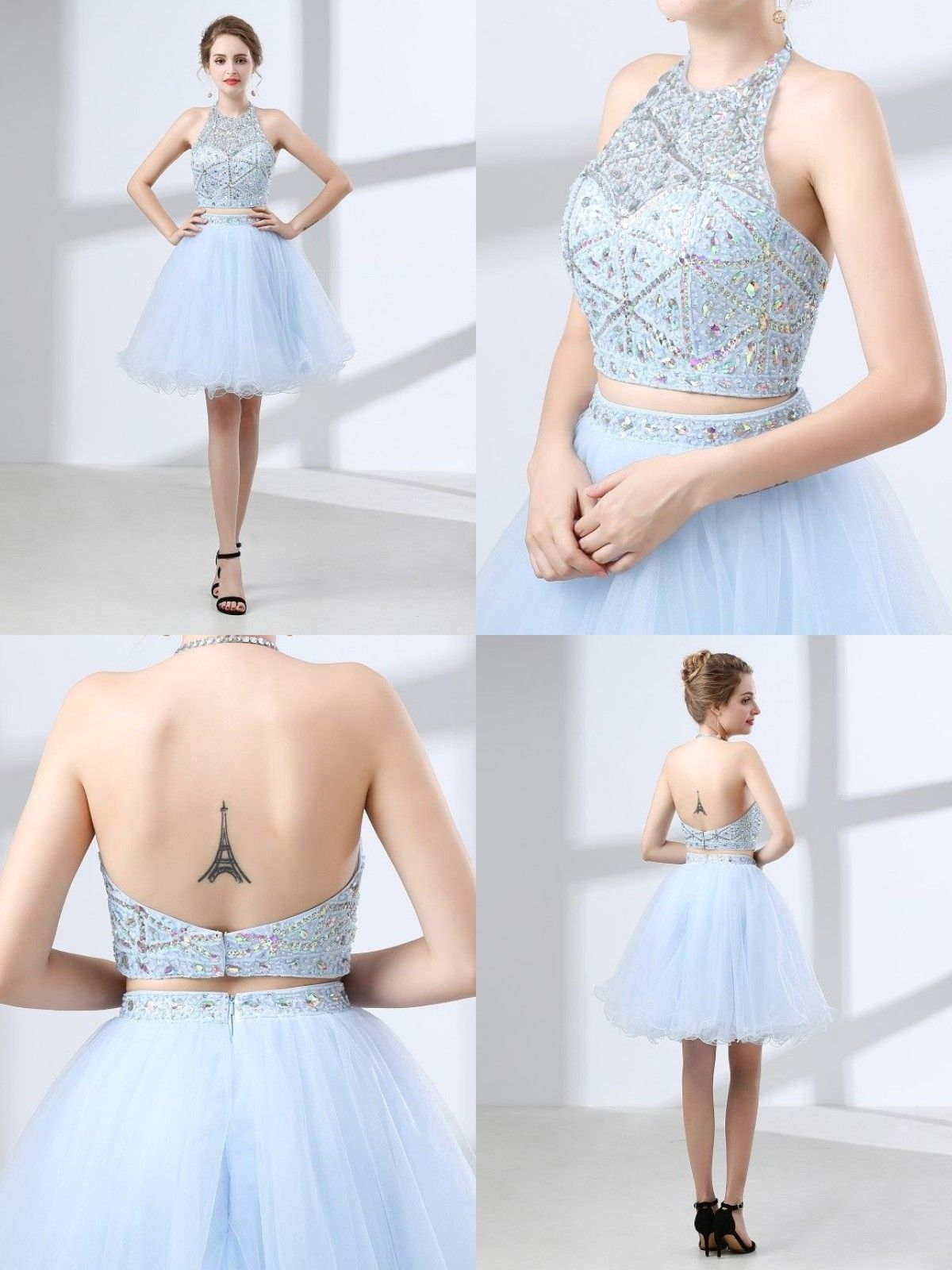 26ca84f03c1c Blue halter sexy backless evening dresses, two pieces A line formal prom  dresses #backlesseveningdresses #formalpromdresses #blueoccasiondresses ...