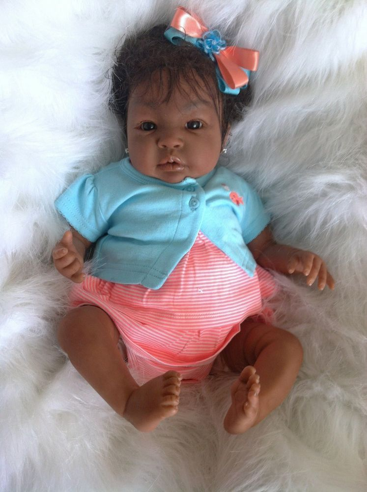 Cute Reborn Baby Doll Soft Silicone 18 Inch Handmade Baby: Reborn Baby Girl Biracial,AA, Ashanthy Custom Orders SALE