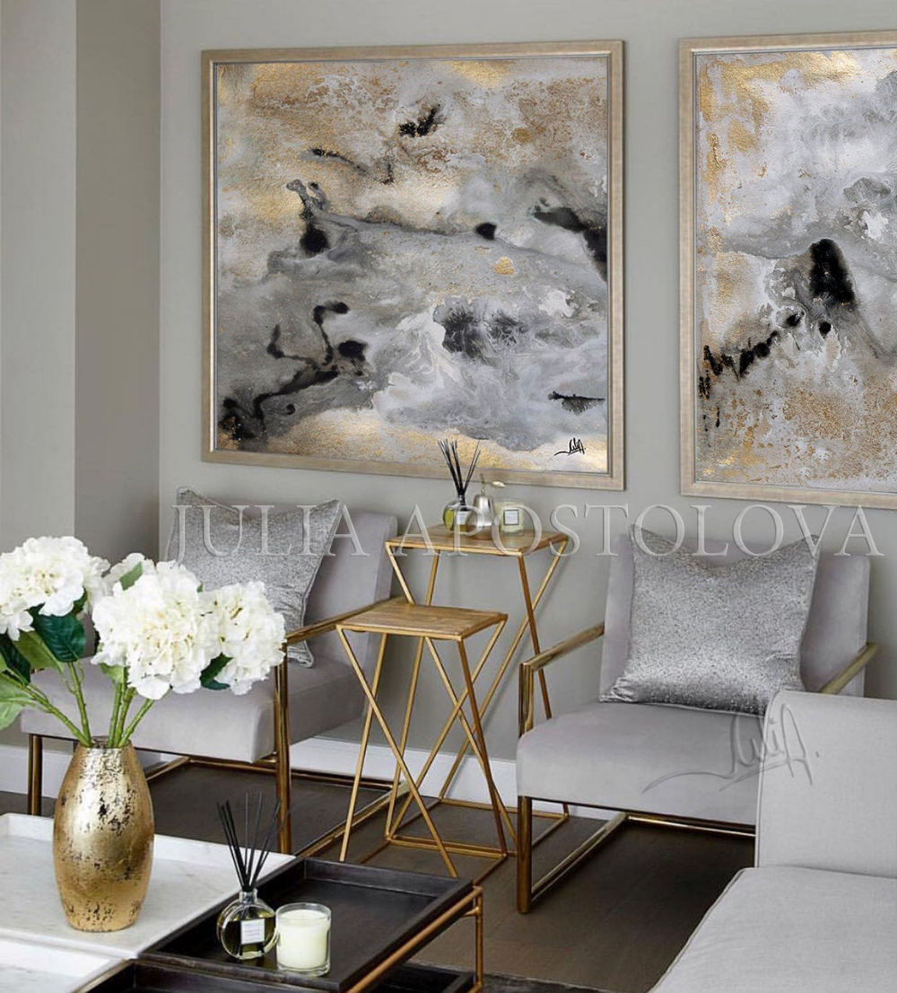 Huge Wall Art Gold Leaf Painting Set Of 2 Wall Decor Gold Leaf Abstract Textured Large Art Luxury Prints Glam Wall Art By Julia Apostolova Glam Living Room Decor Gold Living
