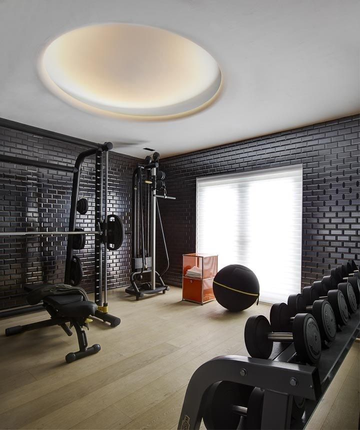 Home Gym Design Ideas Basement: Really Like The Black Brick Walls