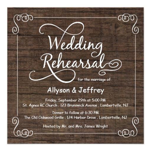 "Rustic Wood Wedding Rehearsal Dinner Invitations 5.25"" Square Invitation Card"