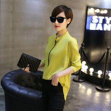 2016 nova primavera summer Fashion womens chiffon blusa patchwork blusas camisa escritório de manga comprida camisa feminina plus size(China (Mainland))