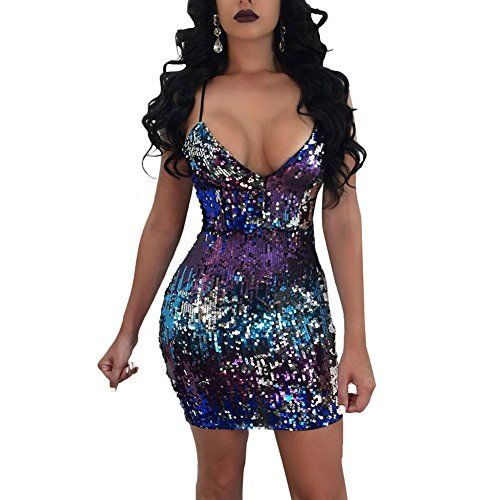 f09fc148032 Zwingtonseas Womens Gradient Sequin Slim Fit Bodycon Dress Sexy Night Club  Dancing Party A Line Dress