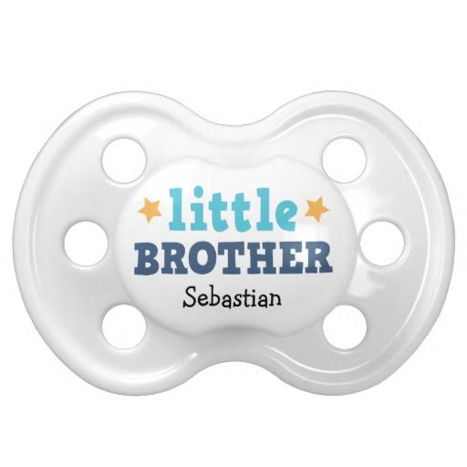 Little brother pacifier, blue text with stars and custom name