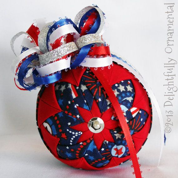 NEW Fourth of July Quilted Ornament Christmas Decoration red white
