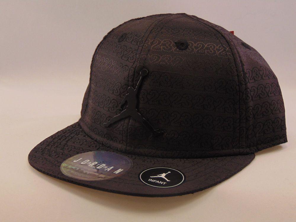 Nike Jordan Jumpman 23 Snapback Infant baseball hat - black with black  metal logo and trim d6fbfb733252
