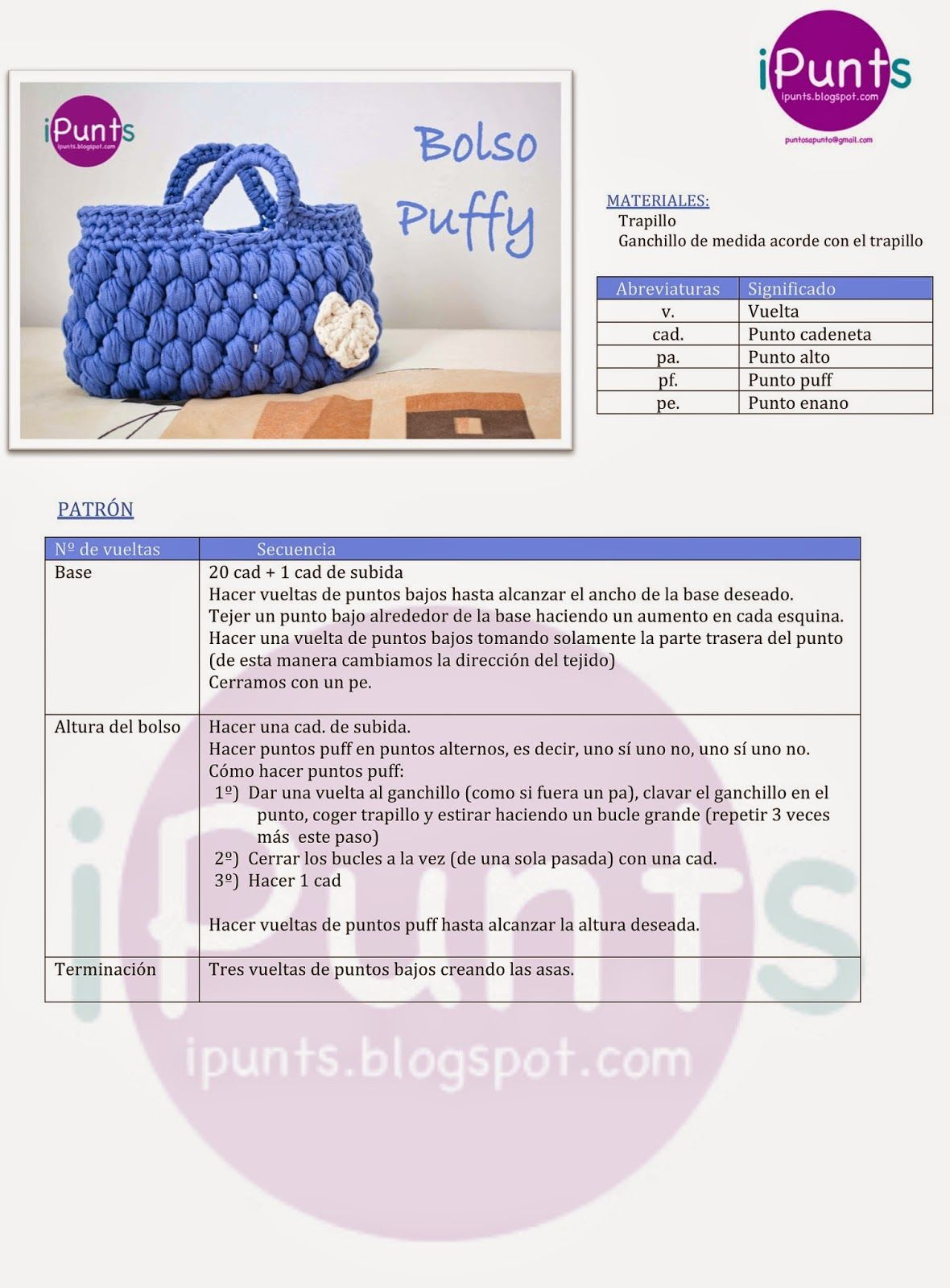 ipunts patrón ganchillo crochet bolso trapillo puff facil aprender ...