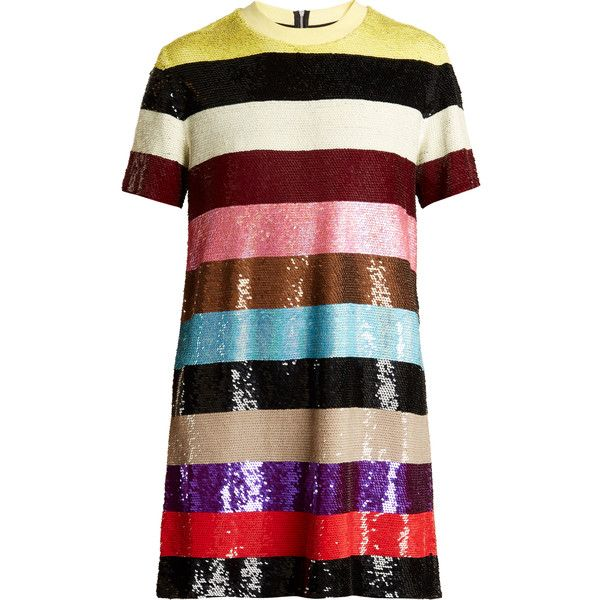 Ashish Striped sequin-embellished mini dress (12,390 CNY) ❤ liked on Polyvore featuring dresses, multi, holiday dresses, wrap dress, short sequin cocktail dresses, short sequin dress and cocktail dresses