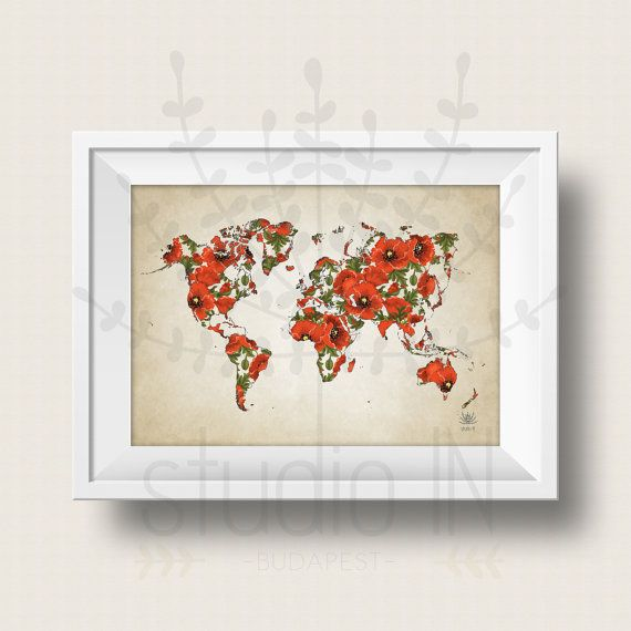 Wolrd map poster poppy flowers world map art large world map print wolrd map poster poppy flowers world map art large world map print printable gumiabroncs Image collections