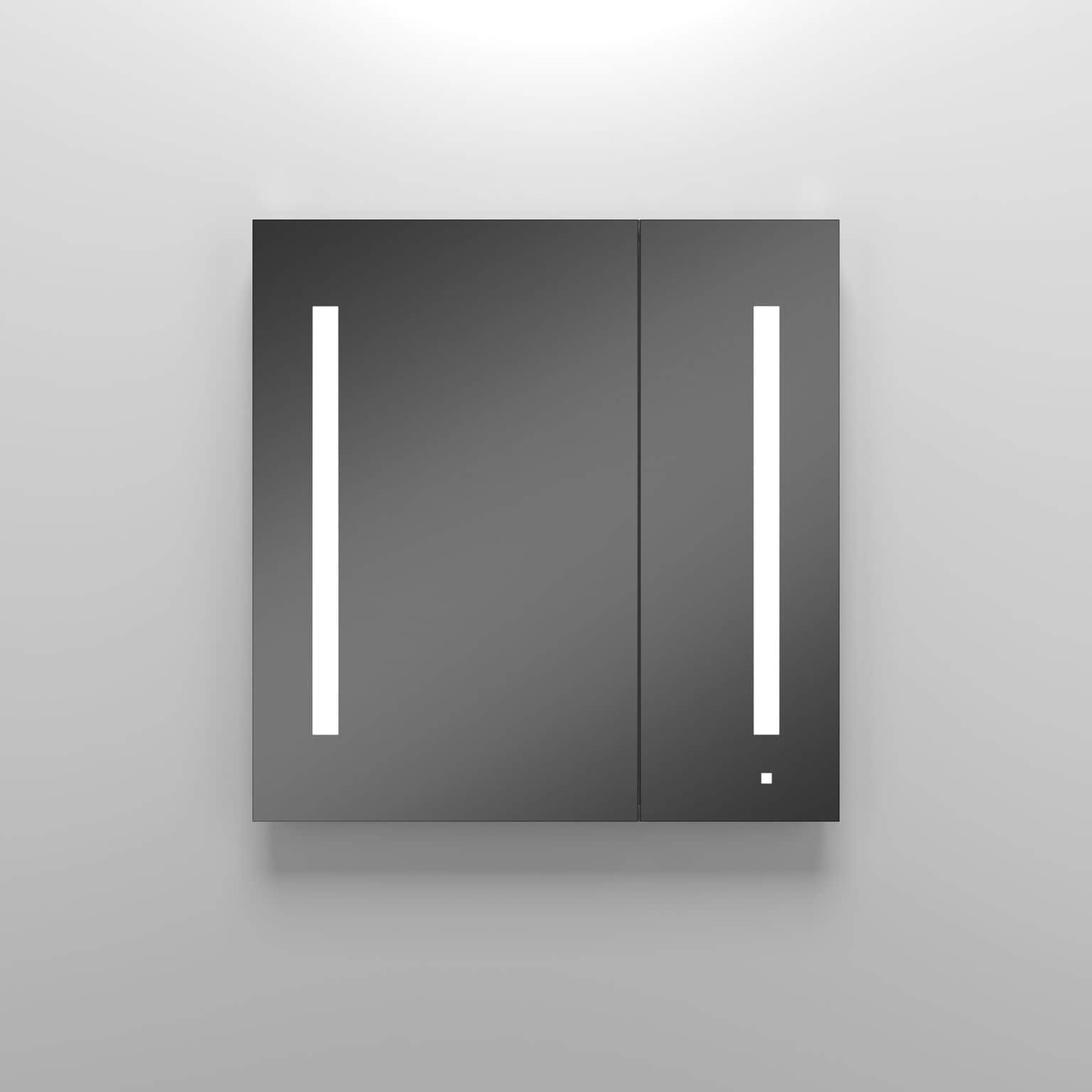 Robern 2 Door Flat Medicine Cabinet With Light Fixture Silver