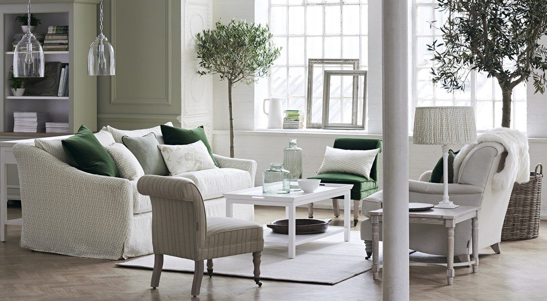 Neptune Long Island Large Sofa In Lara Sage Linen, Madeleine Chair In Jack  Sage Linen And Olivia Armchair In Hugo Millet Linen With Pale Oak Legs.