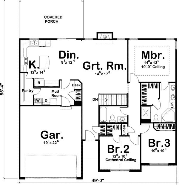 Plan 62492dj Simple Single Story Home Plan Single Storey House Plans House Plans House Plans One Story