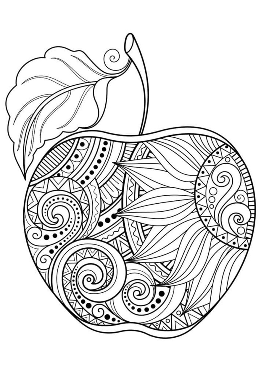 Расписное яблочко (с изображениями)   Раскраски, Книжка ...