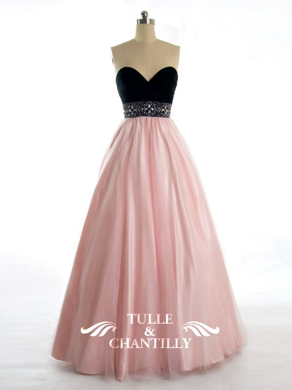 Sophisticated Sexy Beaded Black Bodice with Pink Skirt Ball Gown ...