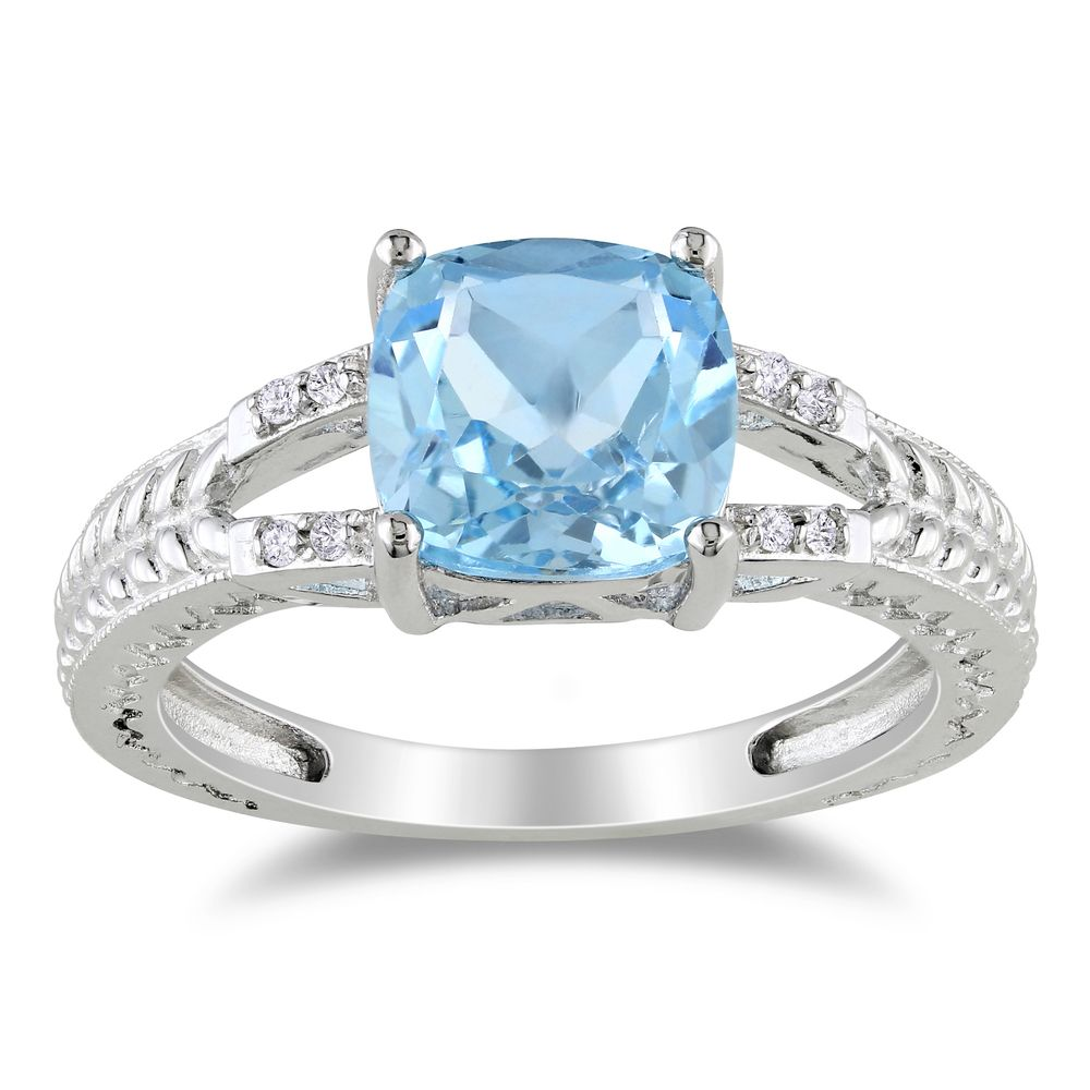 Miadora Sterling Silver 2 1/2ct TGW Blue Topaz and Diamond Ring   Overstock.com Shopping - The Best Deals on Gemstone