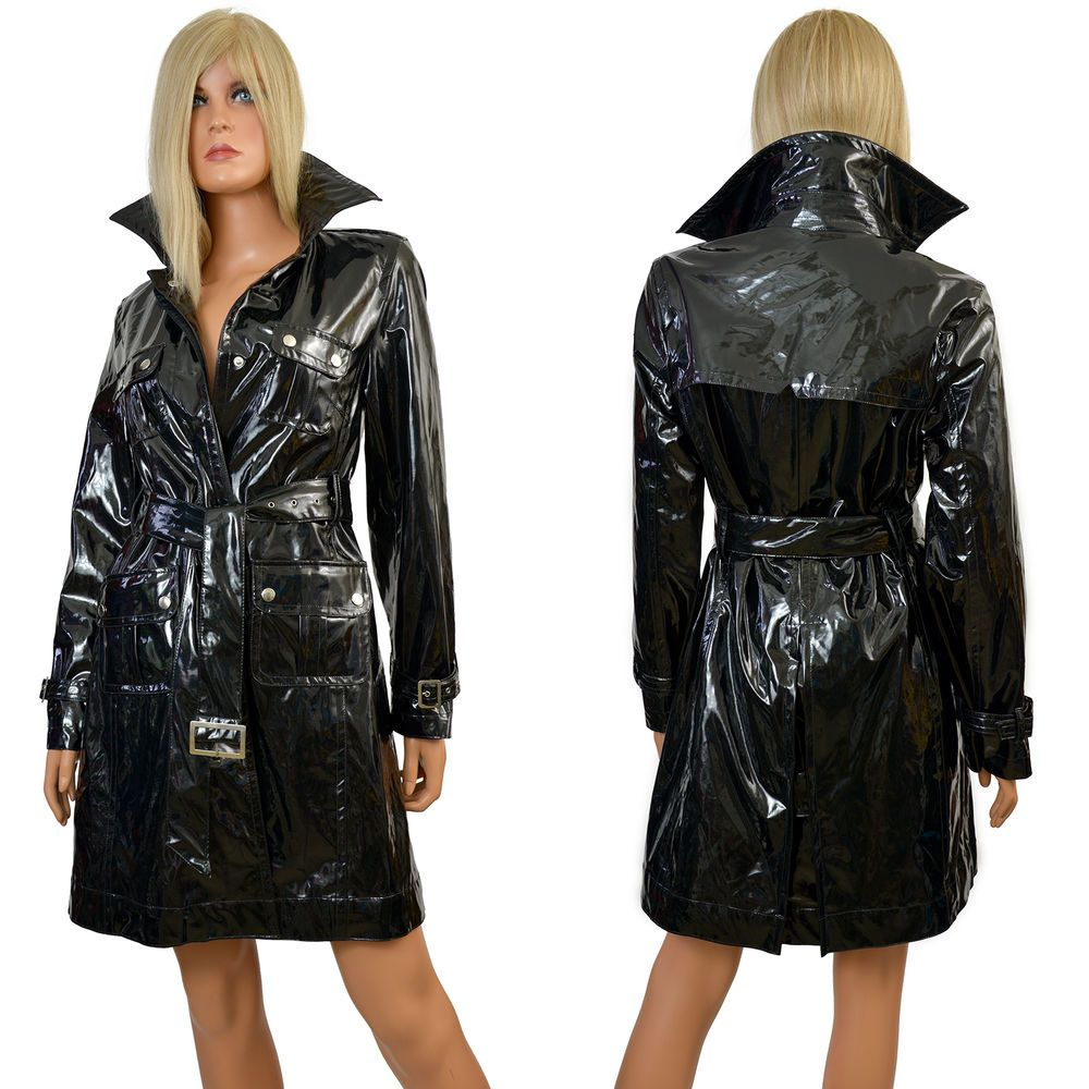 Reserved 90s goth clubkid black shiny pvc motorcycle biker jacket s - Black Pvc Raincoat Shiny Wet Look Vinyl Lined Glossy Trench Coat George Simonton