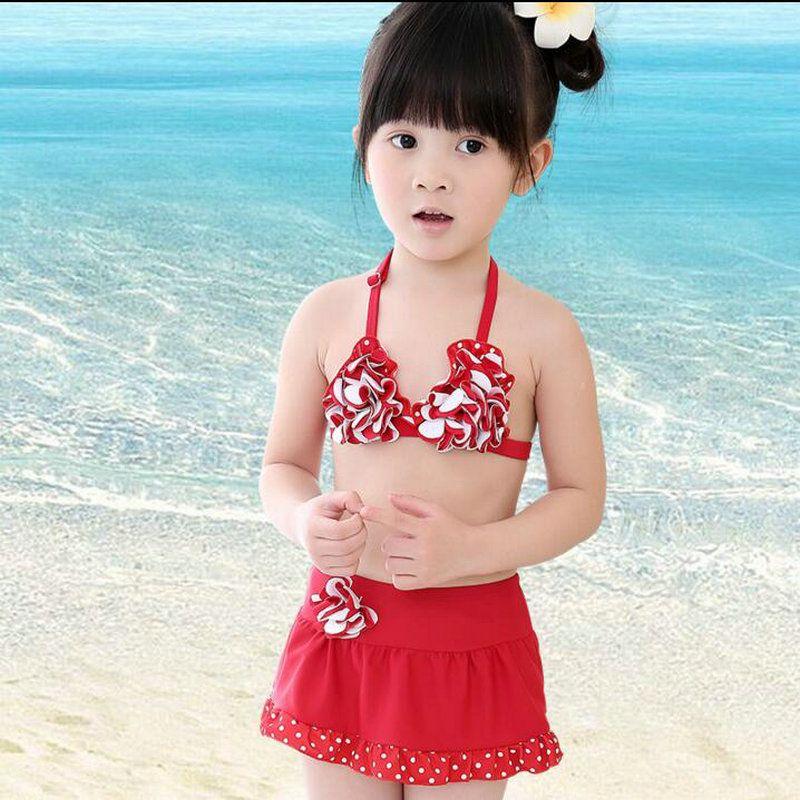 8bbab57eab8 Girls Bikini with Skirt 2-7Year Kids Swimwear for Girls Summer Style Cute  Floarl 3 Pieces Set Bathing SwimSuits Child Swimming Suit LA *** AliExpress  ...