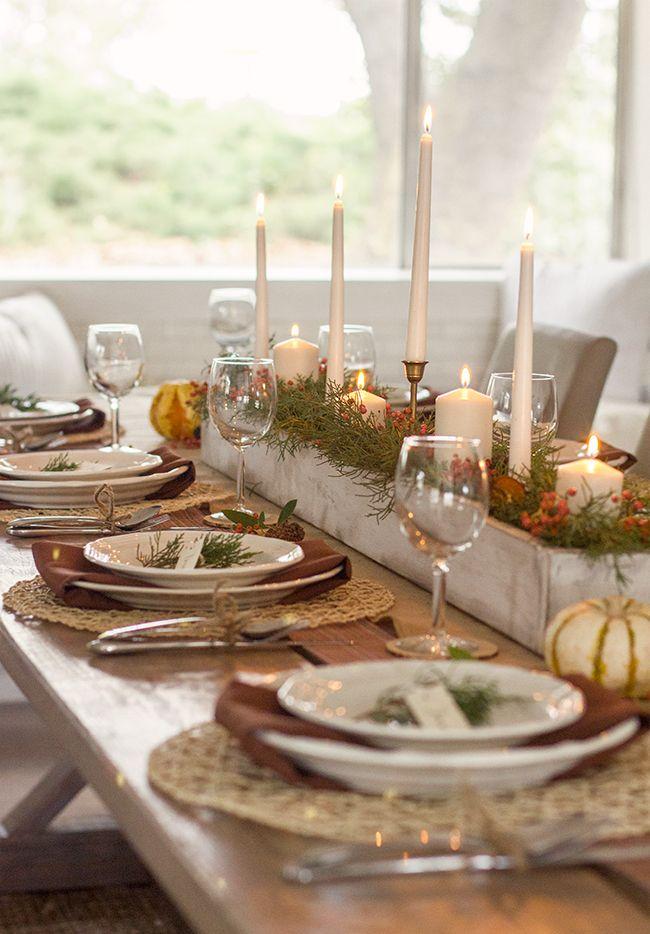 Thanksgiving Table Setting   Jenna Sue Design Idea: Brass Candlesticks In  Rustic Box