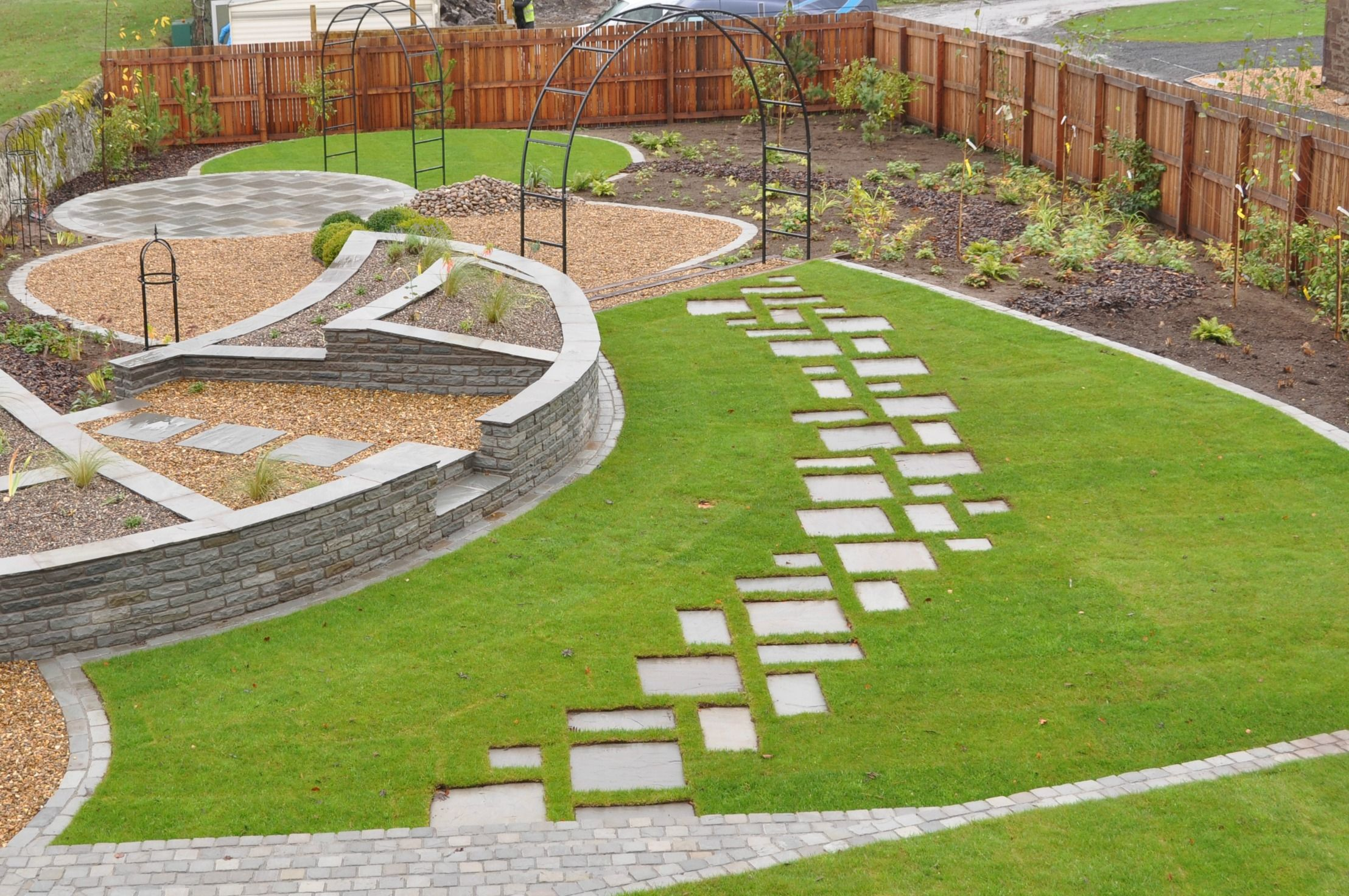 Sandstone slabs form stepping stone path set into lawn. | Walkways ...