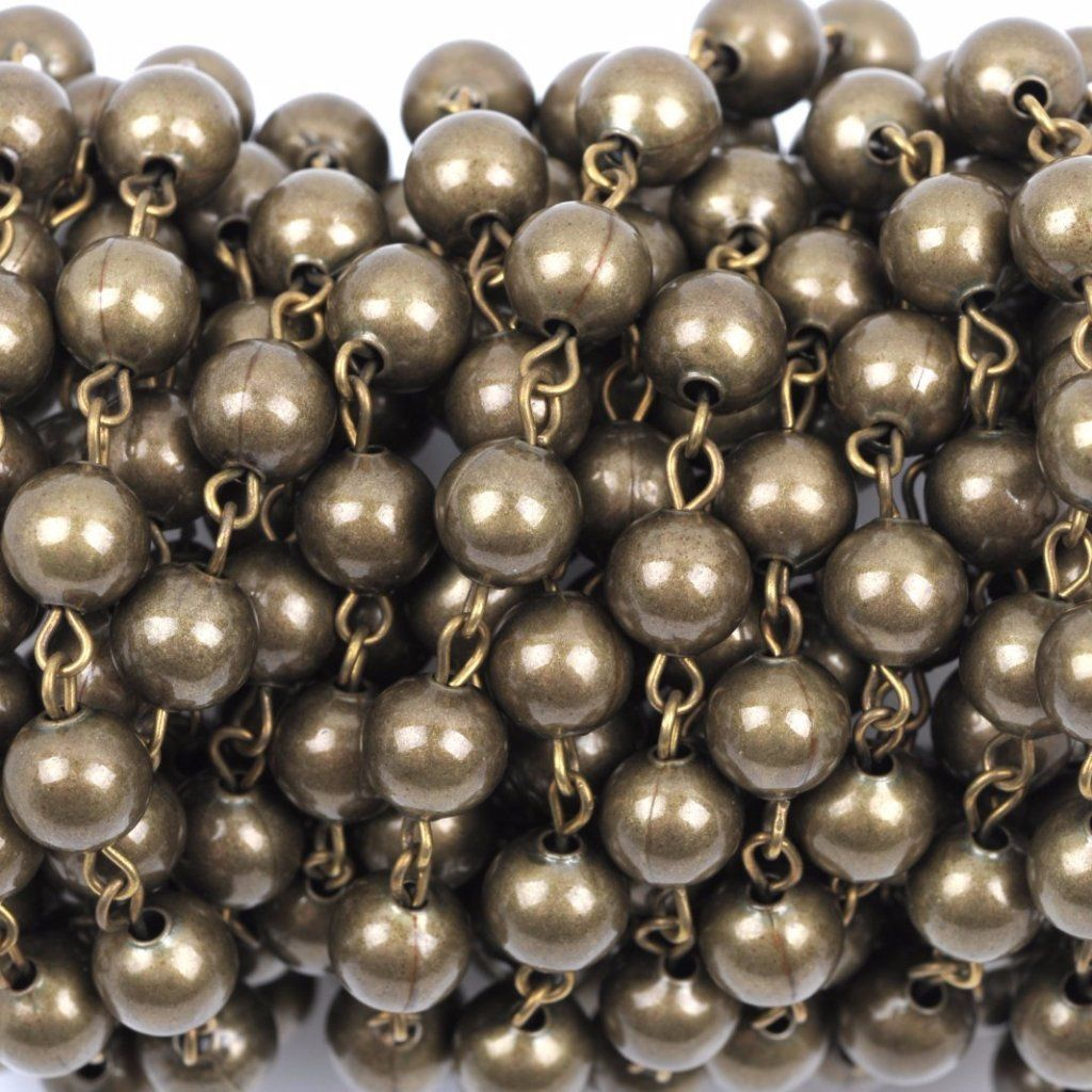 3Feet Black round Faceted Beads Gold plated link Rosary Chain-8mm Beads