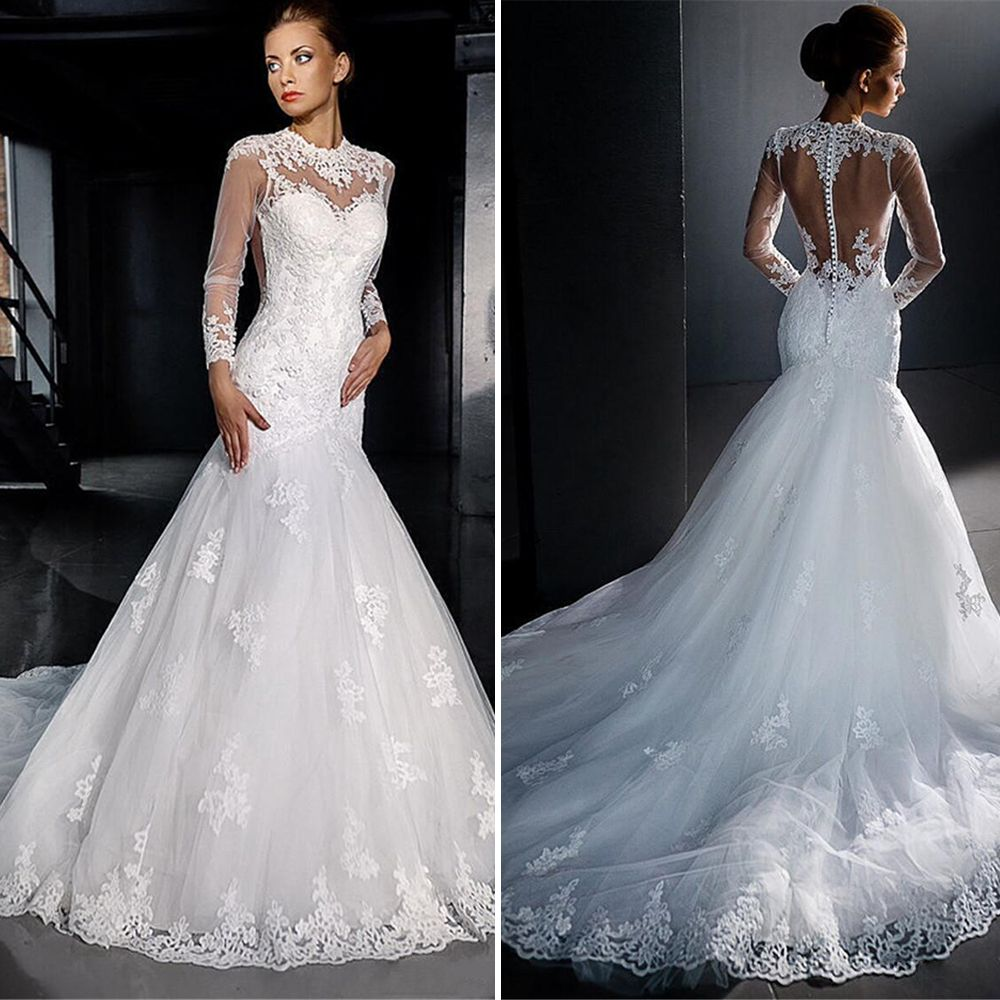 Click to Buy << Vintage White Tulle Lace Wedding Dresses 2016 Sheer ...