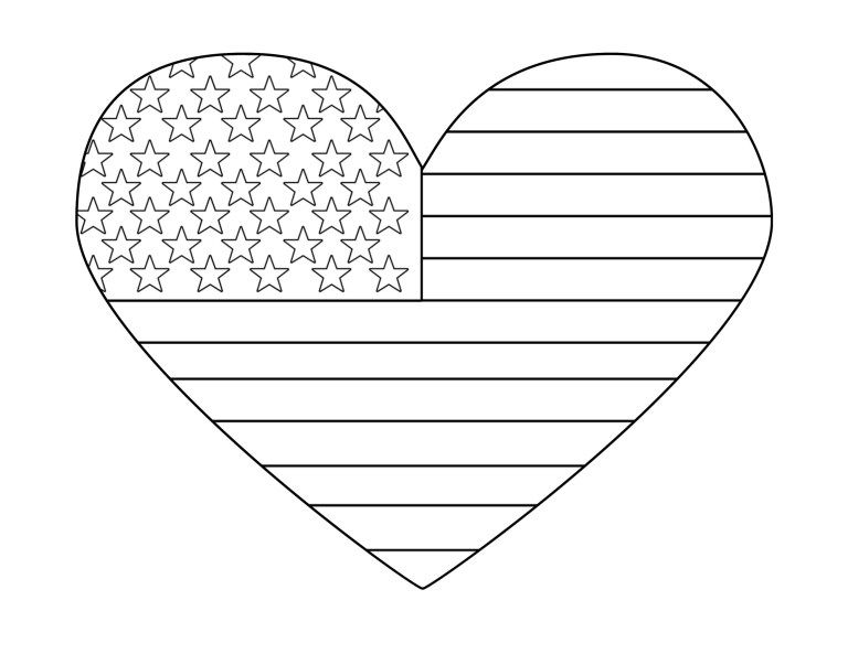 Free Printable 4th Of July Coloring Pages Paper Trail Design American Flag Coloring Page Flag Coloring Pages Heart Coloring Pages